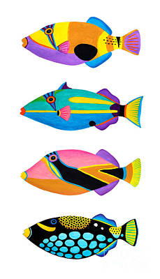 Triggerfish Painting - Collection Of Trigger Fishes by Opas Chotiphantawanon