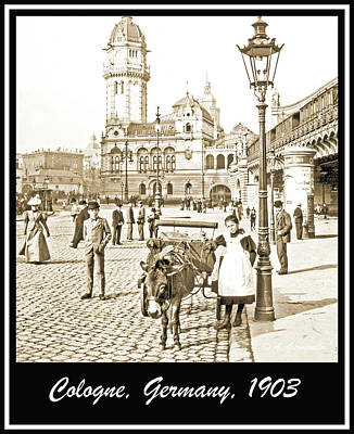 Photograph - Cologne, Germany Street Scene, 1903, Vintage Photograph by A Gurmankin