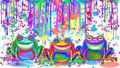 Painting - 3 Colorful Painted Frogs by Nick Gustafson