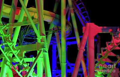 Rollercoaster Photograph - Colorful Roller Coaster Track by Anthony Totah
