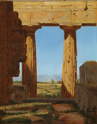 Painting - Columns Of The Temple Of Neptune At Paestum by Constantin Hansen