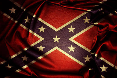 Closeup Photograph - Confederate Flag by Les Cunliffe