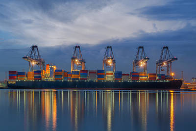 Container Cargo Freight Ship With Working Crane Loading Art Print by Anek Suwannaphoom