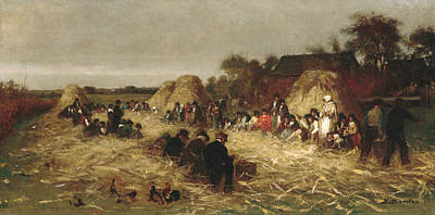 Painting - Corn Husking At Nantucket by Eastman Johnson