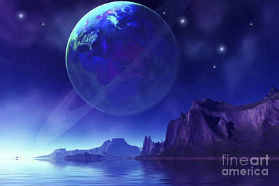 Blue Giant Star Digital Art - Cosmic Seascape On Another World by Corey Ford