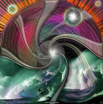 Digital Art - Cosmic Surfer by Larry Rice