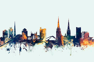 England Digital Art - Coventry England Skyline by Michael Tompsett