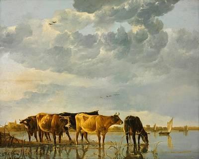 Cows In A River Print by Aelbert Cuyp