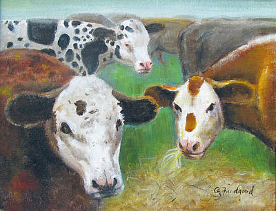 Painting - 3 Cows by Oz Freedgood