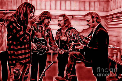 Neil Mixed Media - Crosby Stills Nash And Young by Marvin Blaine