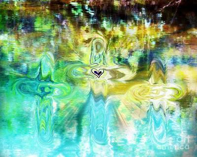Baptizing Digital Art - 3 Crosses by Anita Faye