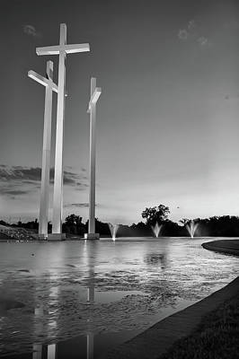 Photograph - 3 Crosses At Dusk - Black And White - Rogers Arkansas by Gregory Ballos