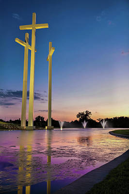 Photograph - 3 Crosses At Dusk - Rogers Arkansas by Gregory Ballos