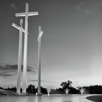 Photograph - 3 Crosses At Dusk - Square Format Black And White - Rogers Arkansas by Gregory Ballos