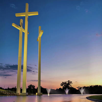 Photograph - 3 Crosses At Dusk - Square Format - Rogers Arkansas by Gregory Ballos