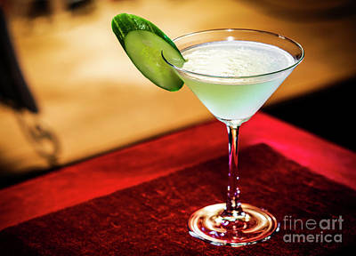 Martini Royalty-Free and Rights-Managed Images - Cucumber And Lime Martini Mixed Cocktail Drink Glass by Jacek Malipan