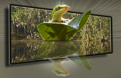 3-d Reflecting Lizard Art Print by Michael Whitaker