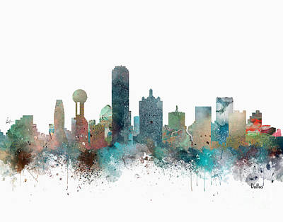 Dallas Painting - Dallas Texas Skyline  by Bleu Bri