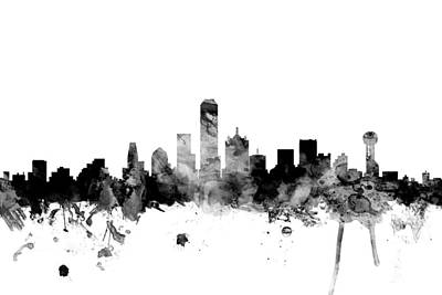 Texas Digital Art - Dallas Texas Skyline by Michael Tompsett
