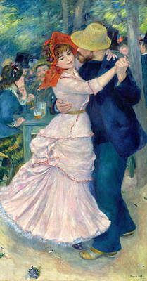 Blue And Pink Dance Painting - Dance At Bougival by Pierre-Auguste Renoir