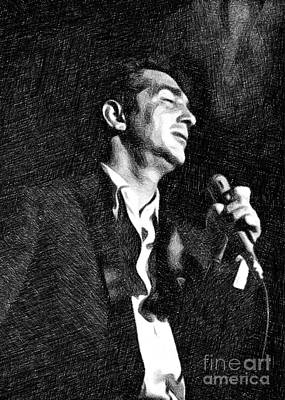 Musicians Drawings - Dean Martin by John Springfield by Esoterica Art Agency