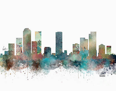 Painting - Denver Colorado Skyline  by Bleu Bri
