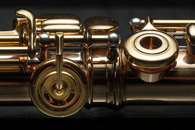Door Locks And Handles - Details of a golden flute black background by Stefan Rotter