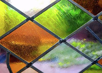 Photograph - Diamond Pane Glass Yellow by JAMART Photography
