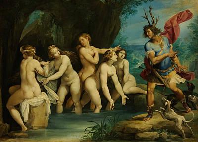 Goddess Mythology Painting - Diana And Actaeon by Giuseppe Cesari
