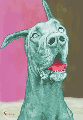 Charcoal Mixed Media - Dog Pop Modern Etching Art Poster by Kim Wang