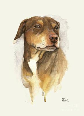 Staffordshire Painting - Dog Portrait by Angel Tarantella