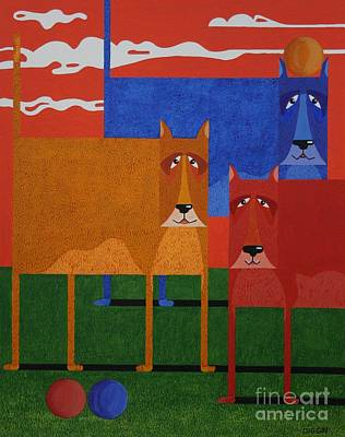 Dog Caricature Painting - 3 Dogs And 3 Balls by Stephen Diggin