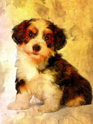 Watercolor Pet Portraits Digital Art - Dogs by Elena Kosvincheva