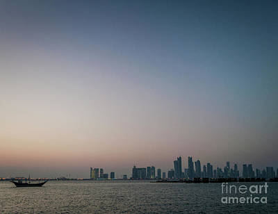 Soap Suds - Doha City Urban Skyline View And Dhow Boat In Qatar by JM Travel Photography