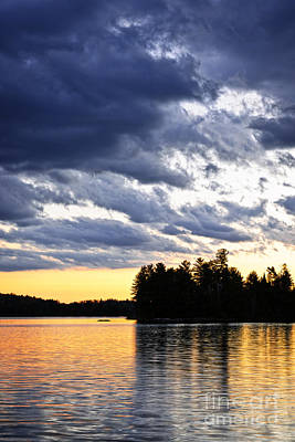 Algonquin Photograph - Dramatic Sunset At Lake by Elena Elisseeva