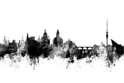 Digital Art - Dresden Germany Skyline by Michael Tompsett