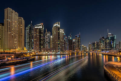 Colorful Boats Wall Art - Photograph - Dubai Marina by Vinaya Mohan