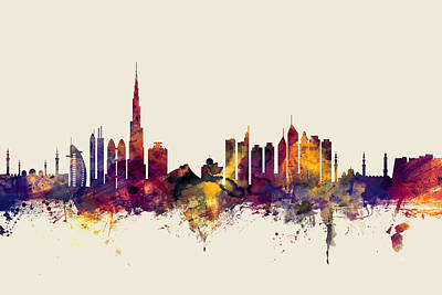Dubai Digital Art - Dubai Skyline by Michael Tompsett
