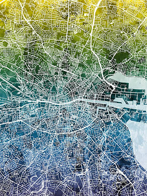 Digital Art - Dublin Ireland City Map by Michael Tompsett