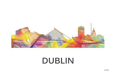 Digital Art - Dublin Ireland Skyline by Marlene Watson