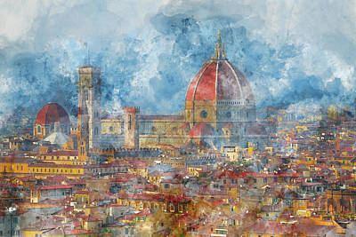 Duomo In Florence Italy Art Print by Brandon Bourdages
