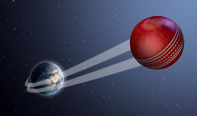 Cricket Digital Art - Earth With Ball Swoosh In Space by Allan Swart