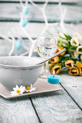 Tableware Photograph - Easter Table by Mythja Photography