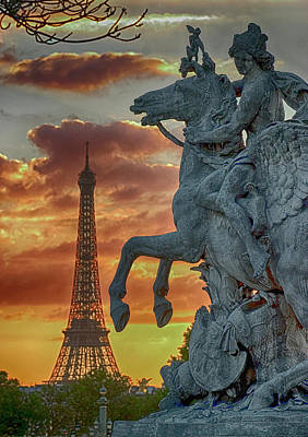 Photograph - Eiffel Tower And Equestrian Sculpture  by Carl Purcell