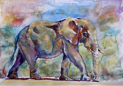 Big Red Painting - Elephant In Gold by Kovacs Anna Brigitta