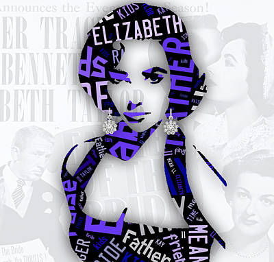 Elizabeth Taylor Mixed Media - Elizabeth Taylor Father Of The Bride Movie Quotes by Marvin Blaine