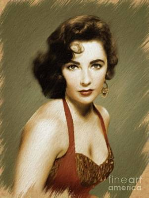Painting - Elizabeth Taylor, Vintage Actress by Mary Bassett