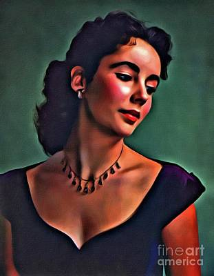 Actors Royalty-Free and Rights-Managed Images - Elizabeth Taylor, Vintage Hollywood Legend by Mary Bassett by Mary Bassett