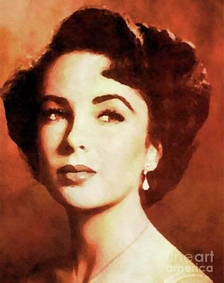 Music Figurative Potraits - Elizabeth Taylor, Vintage Hollywood Legend by Esoterica Art Agency