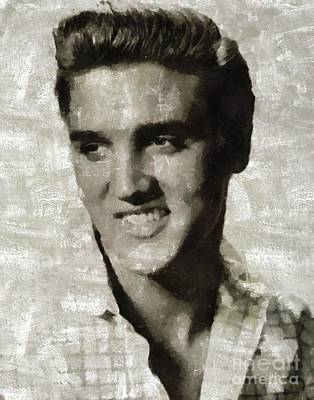 Music Royalty-Free and Rights-Managed Images - Elvis Presley, Legend  by Mary Bassett